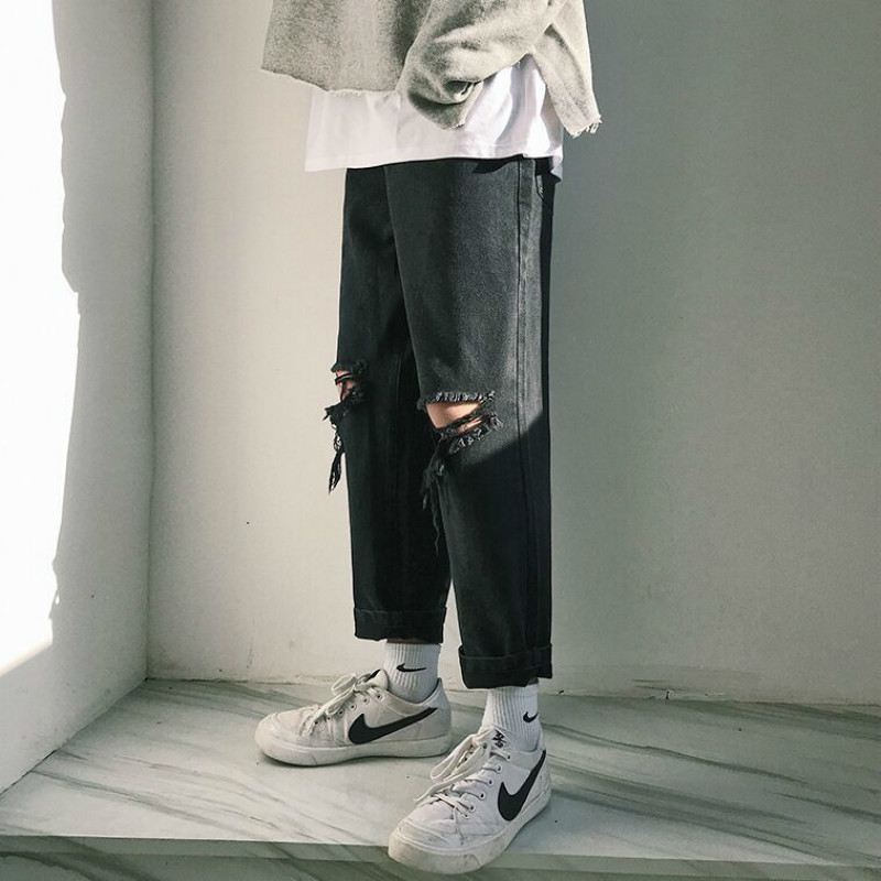 2018 Korean Style Men's Fashion Brand Cowboy Holes Straight   Jeans   Black Casual Pants Loose Denim Trousers Plus Size M-2XL