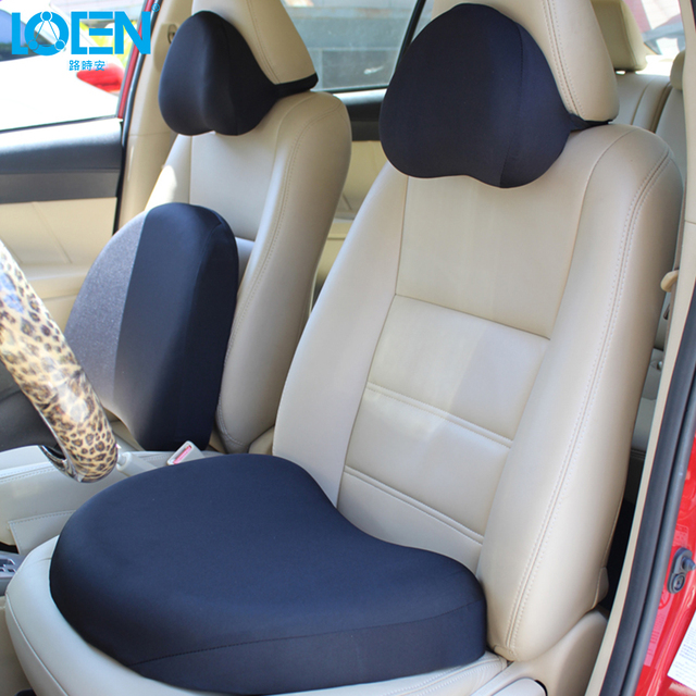 High Quality Black Car Seat Support Set Memory Foam Headrest Neck Pillow Lumbar