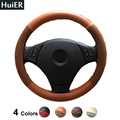 New High Level PU Leather Steering Wheel Covers 4 Colors Non-slip Universal For Car Styling 37-38CM Steering-wheel Free Shipping