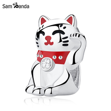 Authentic 925 Sterling Silver Bead Cute Lucky Cat Red Enamel Charm Fit Original Pandora Bracelets DIY Jewelry Gifts Makings