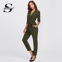 Sheinside Army Green Long Sleeve Workwear Jumpsuit Office Ladies Mid Waist Belted Pocket 2018 Women Autumn Elegant Jumpsuits(China)