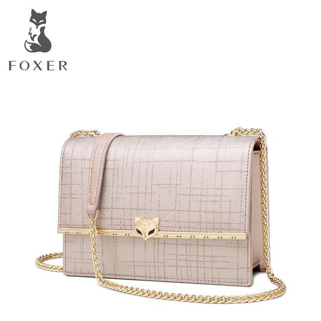 FOXER Mensageiro saco fêmea 2019 nova cadeia de moda bolsa de ombro selvagem simples saco de couro pequeno quadrado