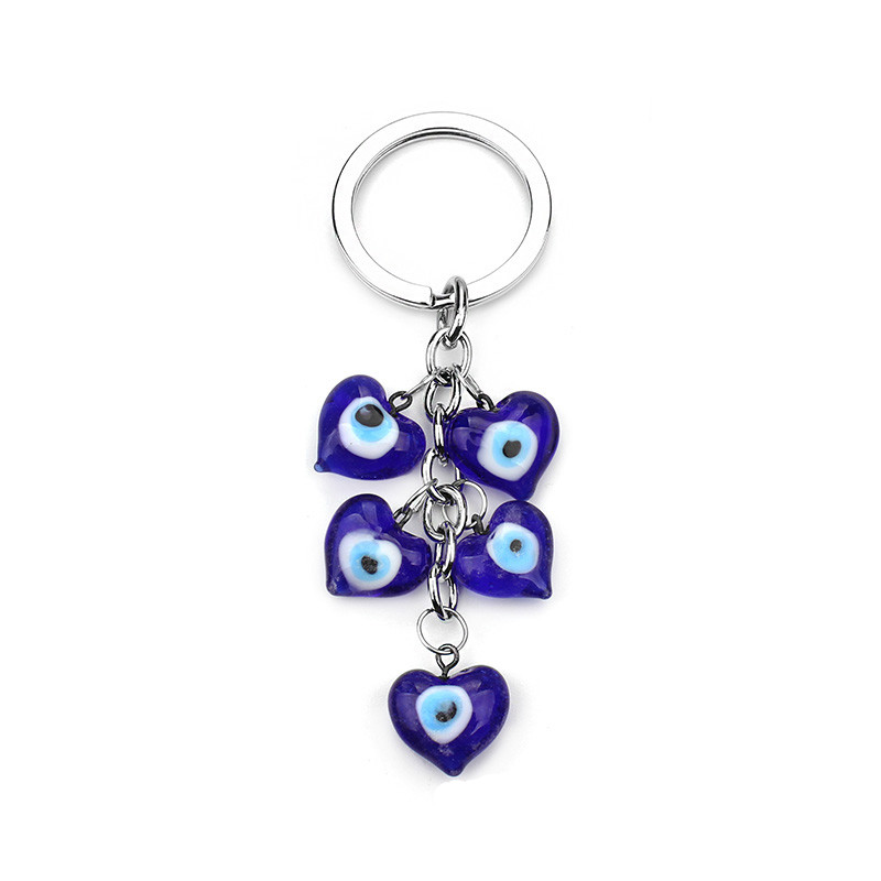 1pc Heart evil eye charms keychain lucky eye keyring glass eye bead bag keychain women fashion jewelry gifts