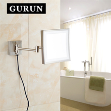 Gurun LED Makeup Mirror – 8 Inch Wall Mounted Mirror3X magnifying bathroom mirror with LED light blank cosmetic shaving 1802DN