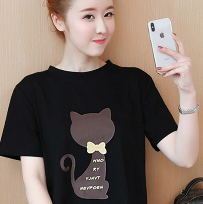 2018 Large size Women T-shirt dress summer Short sleeve Cats print Top Tees Casual O-neck Loose Female Tshirt Plus size 5XL J215 6