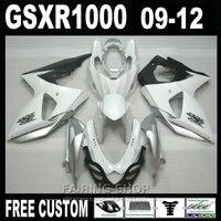 لسوزوكي حقن fairings gsxr1000 09 10 11 12 أبيض فضي أسود fairing kit gsxr 1000 2009-2012 OI03