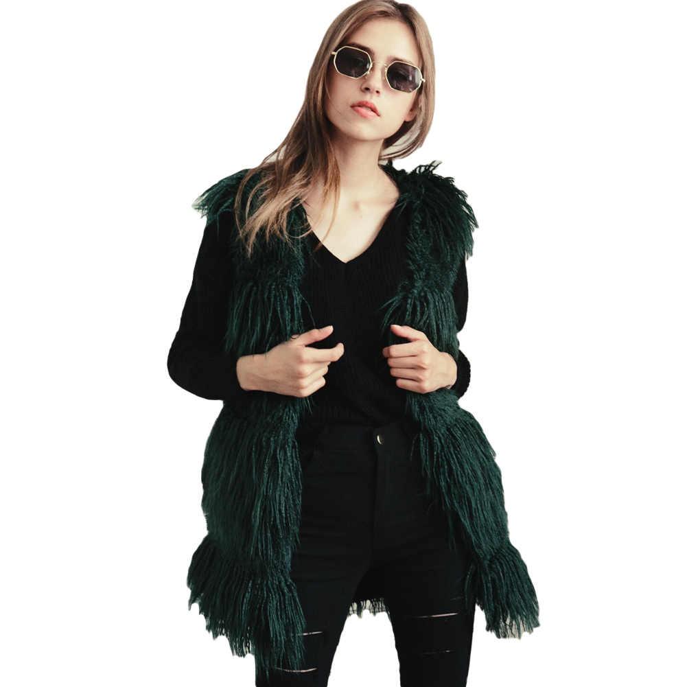 Anself осень элегантный Искусственный мех пальто Для женщин пушистые теплые длинные Мех животных жилет Женский Верхняя одежда черный Зимняя куртка волосатые пальто