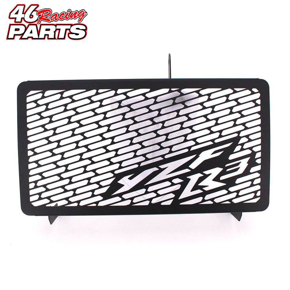 Black Motorcycle Accessories Radiator Guard Protector Grille Grill Cover For YAMAHA YZF R3 YZF-R3 2014 2015 2016 цена