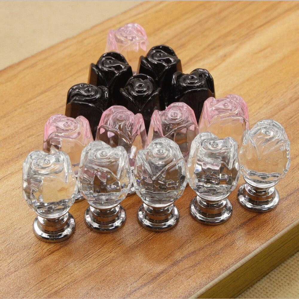 MEGAIRON 1pcs 20mm Rose Flower Shape Crystal Glass Drawer Cabinet Knob Pull Handle Kitchen Door Wardrobe Hardware