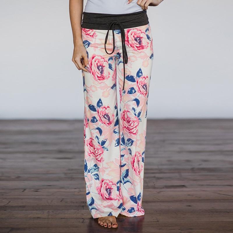 Women Long Pants Loose Floral Print Drawstring Lace Camouflage stripe Wave point Sweatpants 15