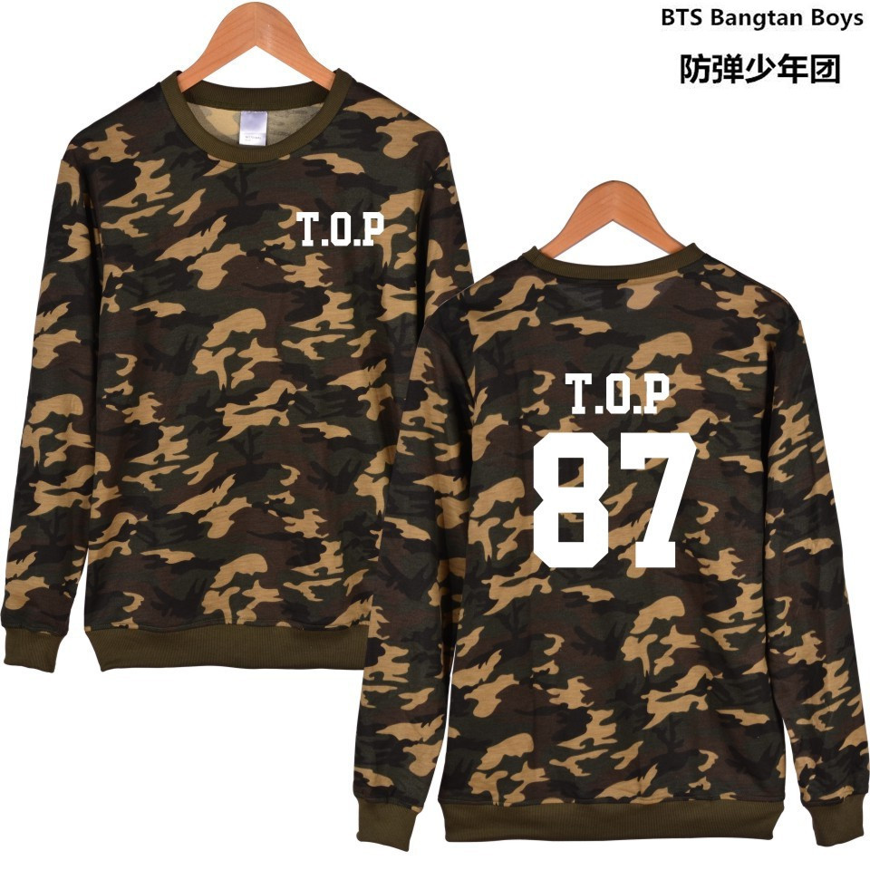 KPOP Bigbing Camouflage Capless Sleeve Letters Sweatshirt Women Hoodies Autumn GD D-drag ...