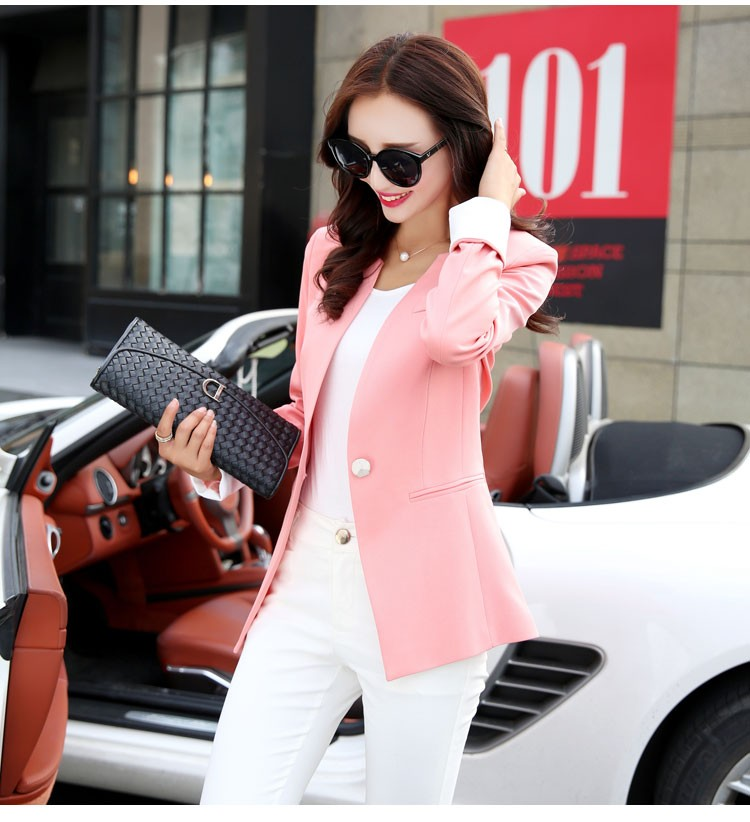 Autumn Spring Chic Office Ladies Stand Collar Blazers Pink Black Jackets For Gentle Women Silm Business Casual Wear Jaqueta Feminina c
