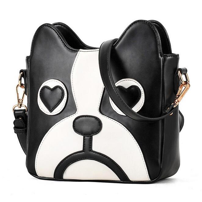 High Quality Women Bag 2016 New Hit Color Fashion Handbags PU Leather Sweet Ladycartoon Cute Little Dog Pack Shoulder Female Bag