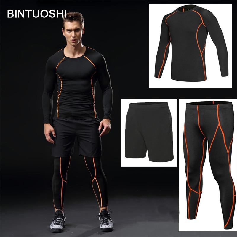 BINTUOSHI 3pcs Men gym Fitness clothing sportswear male gym running sets basketball jerseys training suit compression kits