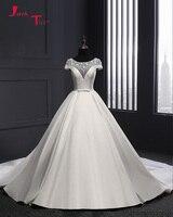 Jark Tozr Custom Made Short Sleeve Bow Waist Beading Flowers France Satin Ball Gown Wedding Dress