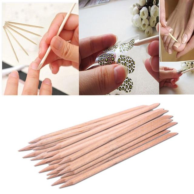 SALE New Arrival 20pcs 3D Nail Art Decorations Wood Stick Cuticle Pusher Remover Pedicure Manicure Pen Nail Brush Nails Tools
