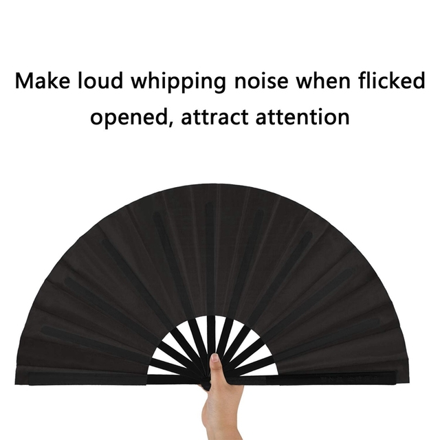 2 Pieces Large Folding Nylon Kung Fu Fans 1