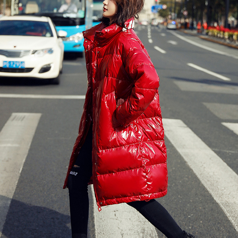 Winter Bright Letter Medium length Women Down Coat 2020 New Fashion Large size  High quality White duck down Women Down jacket