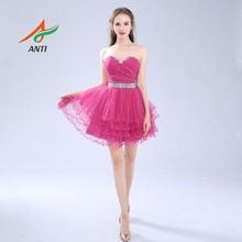 ANTI Homecoming Dress Sweetheart Fuchsia A-Line Mini Pleat Cocktail Party Above Knee Cheap Tulle Tiered