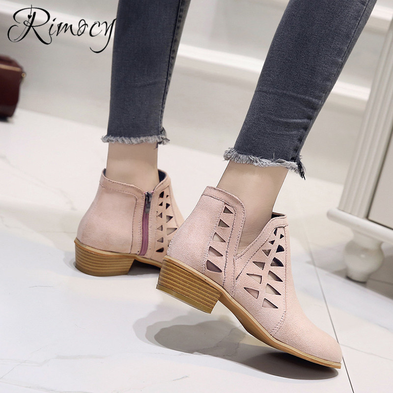 Rimocy 2019 spring hollow out single shoes woman faux suede round toe square heels pumps women 4cm med heels casual shoes femme 28