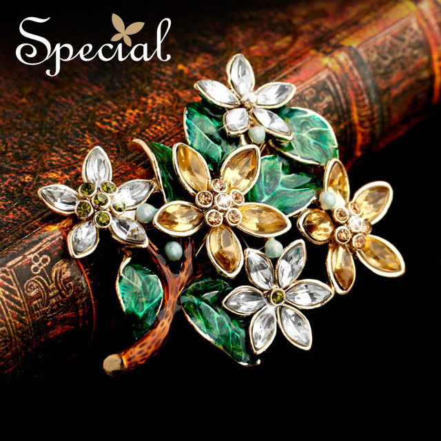 Special Brand Fashion Gold Tree Brooches European Style Enamel Brooch Pins Big Vintage Brooches Bouquet for Women  XZ141101
