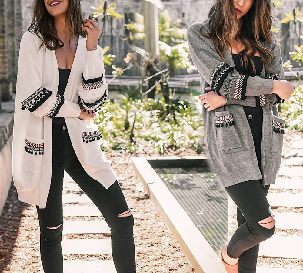 Hitmebox 2018 Autumn Winter Fashion women vintage ethnic lace tassel patchwork knitted sweater open front jacket outwear pocket