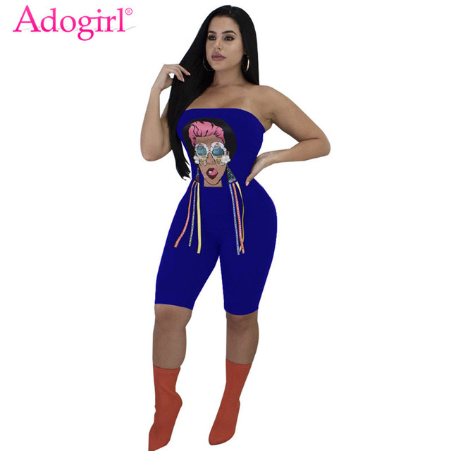 1104734921 Adogirl Ice Cream Cartoon Girl Print Jumpsuits for Women Sexy Strapless  Skinny Knee Length Romper Playsuit