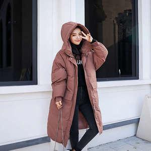 Image 4 - Женская пуховая куртка с капюшоном, длинная хлопковая парка, теплое зимнее пальто, курточка мальчикового кроя, C5074