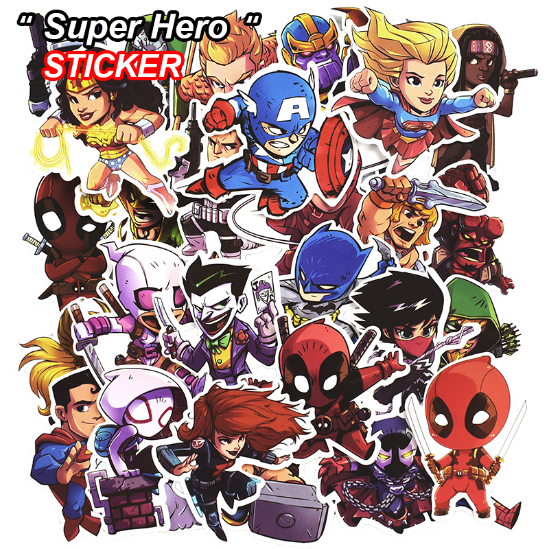 50 Pcs Super Hero Stickers for Luggage Laptop Skateboard Bicycle Motorcycle Car Styling Decals Fashion Cool Waterproof Sticker ...