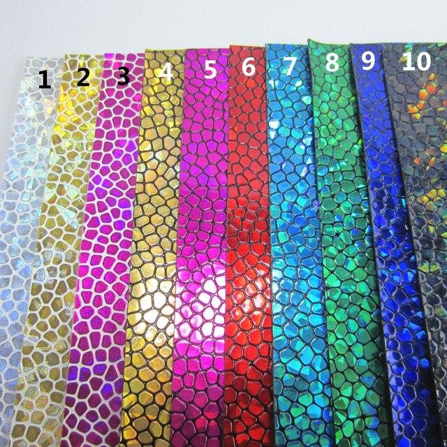 """Folha A4 8 """"X 11.8"""" Holograma sacos de Pedra Textura de Couro Do Falso PU tecido de couro sintético para arcos casa deccoratio 1 peças F0242"""