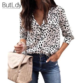 3d00a7a7549 Blusa leopardo mujeres camisas de manga larga Primavera Verano 2019 de moda  cuello en V blusa camisa Casual elegante para mujer