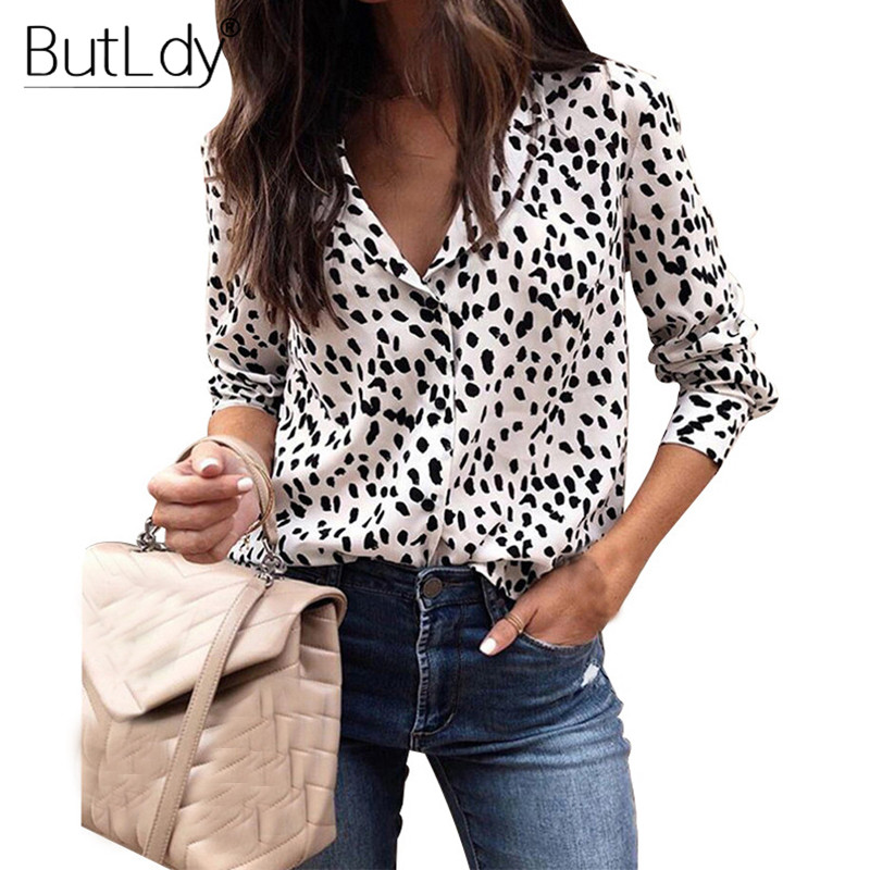 Leopard Blouse Women Long Sleeve Shirts Spring Summer 2019 Fashion V-Neck Blouse Shirt Casual Elegant Womens Tops and Blouses