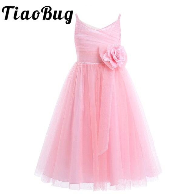 2020 Girls Pleated Tulle Mesh Spaghetti Shoulder Straps Flower Girl Dress Princess Pageant Birthday Wedding Party Dress SZ 2 12