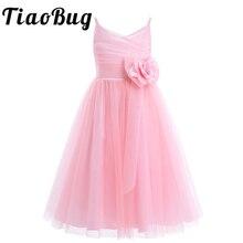 2020 dziewczęce plisowane tiulowe ramiączka spaghetti dziewczęca sukienka w kwiaty dla księżniczki na konkurs piękności urodziny wesele sukienka SZ 2 12