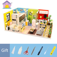 Wooden Assembly Model House DIY Doll Houses Toy Simple Life Building Sand Table Loft Minature Doll House Furniture Kit M043