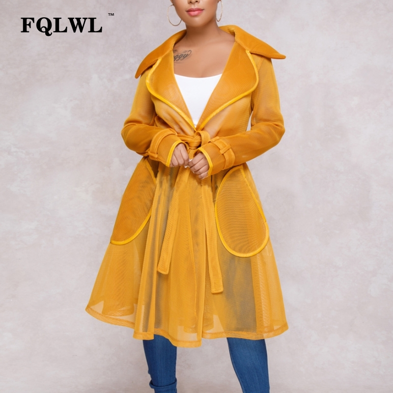 FQLWL Mesh Sheer Long   Trench   Coat For Women Transparent Turn Down Collar Sashes   Trench   Female Casual Winter Coat Women Outwear