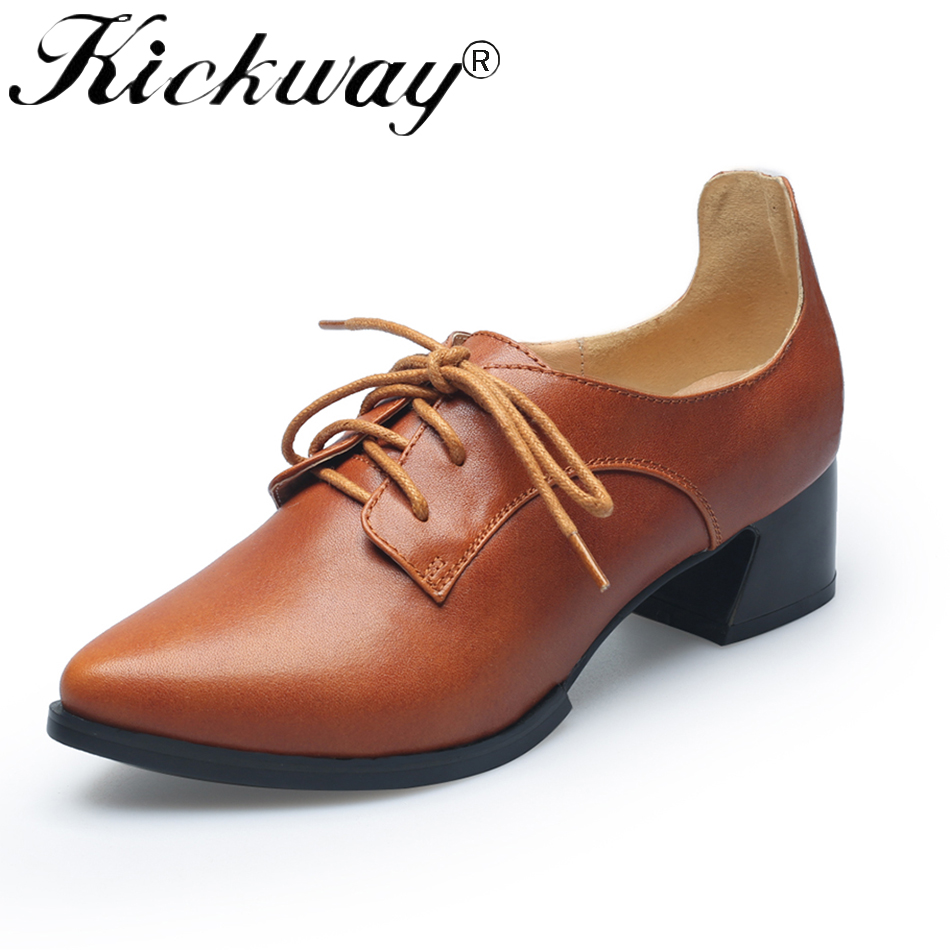 Kickway Women Genuine Leather Shoes Pumps Shoes Woman 2018 Strange Style Thick Heel Med Heel Pointed Toe Shoes Plus Size 34-43