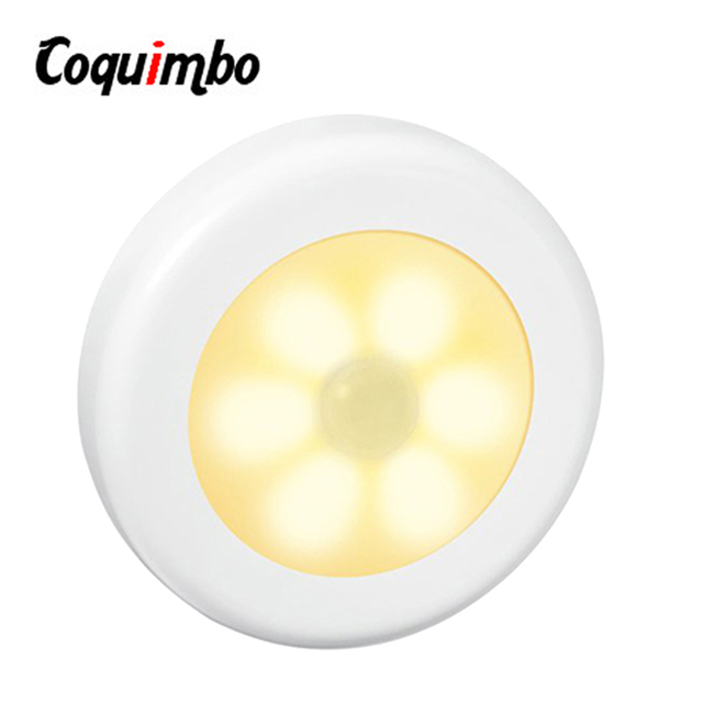 6 Led PIR Infrared Motion Sensor LED Night Light Magnetic Motion Detector Auto On/Off Closet Battery Powered Wireless Wall Lamp