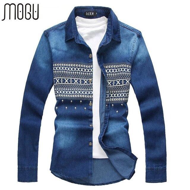 MOGU Большой Размер Мужчины Весна Новое Прибытие Джинсовая Рубашка С Длинным Рукавом хлопок Повседневная Рубашка Мужчины Плюс Размер 5XL 6XL Новая Осень Рубашки синий