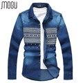 MOGU Grandes Homens de Tamanho Primavera Nova Chegada Camisa Jeans de Manga Comprida Camisa de algodão Ocasional Dos Homens Plus Size 5XL 6XL Outono Nova Camisa azul