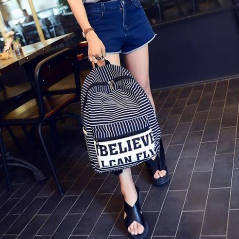 Canvas korean style traveling bag english letters casual striped women backpack student preppy style lady traveling