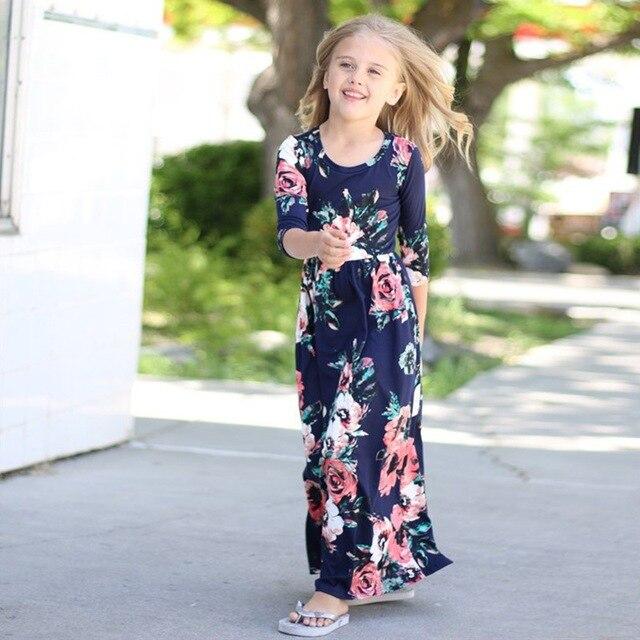 8e46d2c50 Niños adolescentes ropa para bebé Niñas manga larga vestido de fiesta azul  marino estampado floral azul