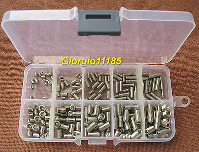 200Pcs Stainless Steel Hex Socket Set Screw Assortment Kit 200pcs 304 stainless steel m3 m8 hex socket set grub screw assortment kit
