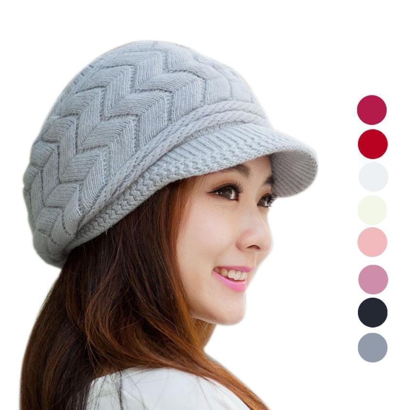 Fashion Women Hat Winter Skullies Beanies Hats Rabbit Fur Cap Knitting Velvet Caps Warm Head Winter Hat Korean Style #OR skullies