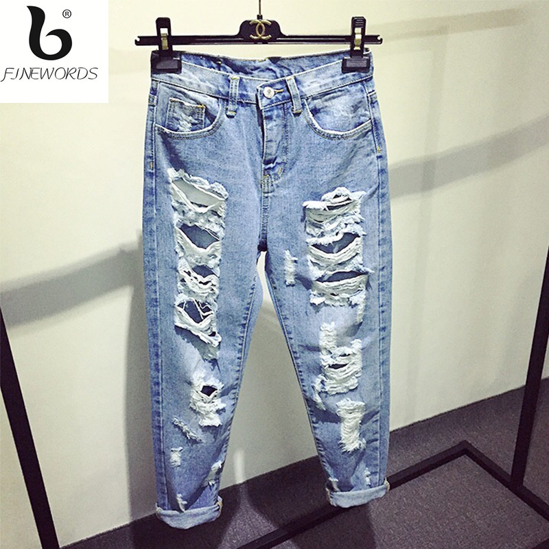 FINEWORDS Newest Fashion Summer Hot Style Women Jeans Ripped Big Holes Harem Pants Jeans Loose Vintage