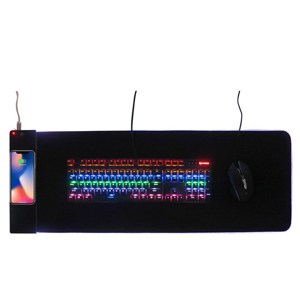 Elisona 34 × 12 インチ大容量の Usb 有線 LED RGB カラフルな照明ゲーミングキーボードマウスパッドワイヤレス充電器のラップトップコンピュータマウスマット  グループ上の パソコン & オフィス からの マウスパッド の中 1