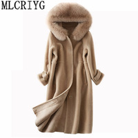 Winter Women's Natural Wool Fur Coat 2019 New Sheep Shearling Long Jacket Tops Overcoat Female Real Fox Fur Parka Outwear LX376
