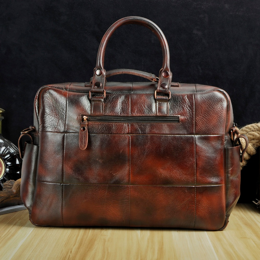 Image 3 - Original leather Men Fashion Handbag Business Briefcase Commercia Document Laptop Case Design Male Attache Portfolio Bag 3061 bu-in Briefcases from Luggage & Bags