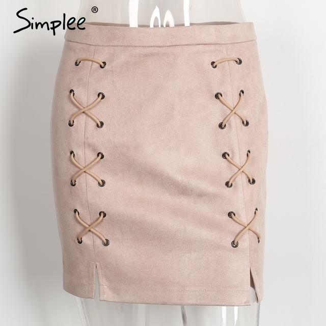 Simplee Autumn lace up leather suede mini skirt -high waist skirt