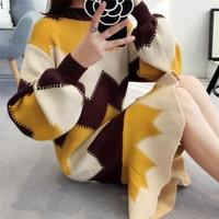 Winter Geometric Dress Women Knitting Oversize Autumn Thick Midi Dress Warm Long Sleeve Fashion Sweater LM025